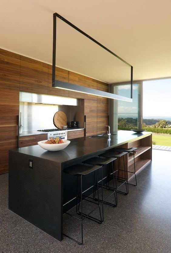 modern kitchen build with terrazzo flooring